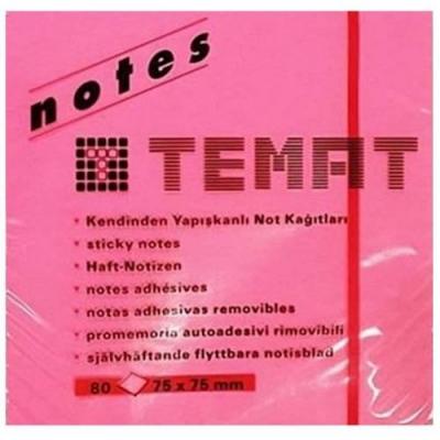 Temat 10612 Yapışkanlı Not Kağıdı 75x75 Pembe