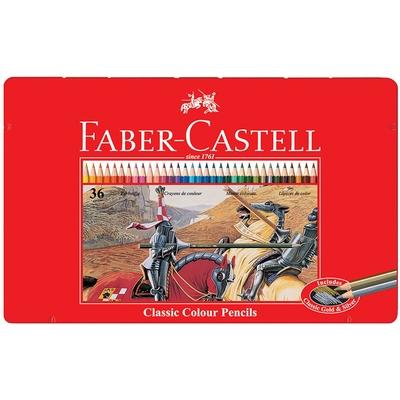 Faber Castell Kuruboya Kalemi 36 Renk Kırmızı Metal Kutu 115846