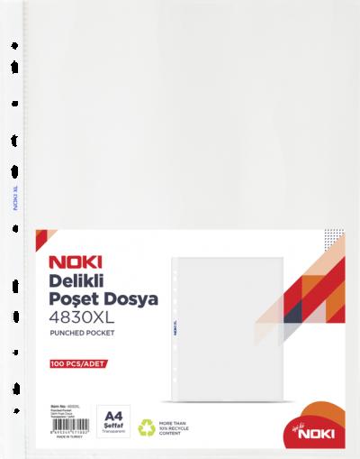 Noki Poşet Dosya Delikli XL A4 100LÜ 4830